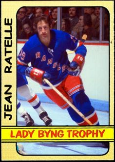 1972-73 Topps Lady Byng Trophy - Jean Ratelle, New York Rangers, Hockey Cards That Never Were