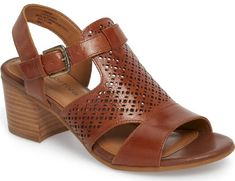 Comfortiva Amber Perforated Block Heel Sandal in Brown. Latticework perforations bring beautiful texture to a versatile walkabout sandal lifted by a curved block heel. Signature Pillowtop cushioning and a skid-resistant sole add comfort and stability on any surface.. #shoes #fashion #style #stylish #trendy