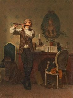 Interior with Flute Player by Georg Reimer (German 1828-1866)