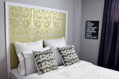 Leftover wallpaper used for headboard decoration