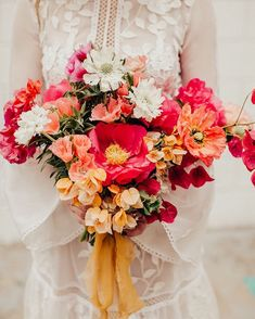 Colorful boho bouquet - bougainvillea and peonies Poppy Wedding Bouquets, Poppy Bouquet, Spring Wedding Flowers, Bride Bouquets, Floral Bouquets, Floral Wedding, Boho Wedding, Eclectic Wedding, Luxury Wedding Invitations