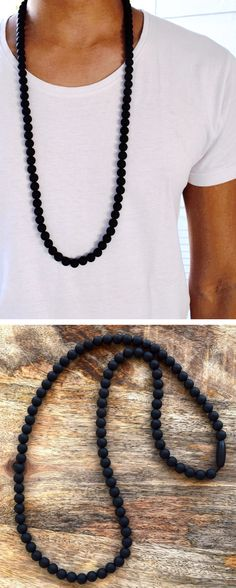 Men's Teething Necklace - finally, some awesome stylish teething accessories handmade especially for Dads from 100% non-toxic silicone beads by Zie and Me.
