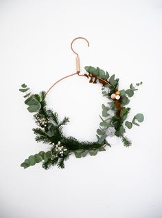 DIY christmas wreath with a cloth hanger