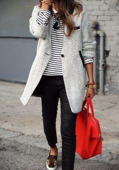 Grey coat + stripes + leopard sneaker + red bag = I <3