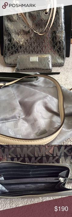 Authentic Michael Kors Purse and wallet Nickel color. Both pieces are in great shape. Handles without wear. Full size wallet. Shoulder drop approx 10 inches Michael Kors Bags Shoulder Bags