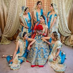 Co-ordinated Bride & Bridesmaids Looks | Matching Contrasts #blog https://strandofsilk.com/indian-fashion-blog/indian-weddings/real-life-inspirations-co-ordinated-indian-bride-and-bridesmaid