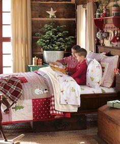 holiday bedroom i love christmas bedding! Cozy Christmas, Country Christmas, Christmas Morning, Xmas, Cabin Christmas Decor, Pottery Barn Christmas, Christmas Ideas, Christmas Bedding, Shabby Home