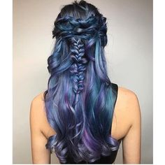 Gorgeous blue and metallic purple hair color and exquisite braid braided style by Kim Wasabi long hair www.hotonbeauty.com