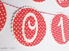 FREE printable alphabet banner | in cute red and white dot pattern ( numbers too ^^ ) | gaddie + tood blog