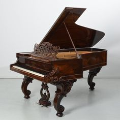 """Steinway & Sons grand piano in rosewood case, 19th c., no. 12048, carved cabriole legs, 39""""h x 88""""l x 55""""w1"""