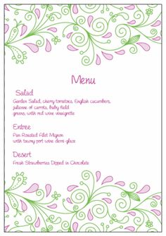 Menu Cards. Printable Wedding Invitations Paisley April Suite: Pink and Green