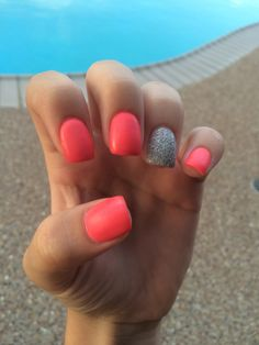 Acrylic powder nails  Summer  Glitter