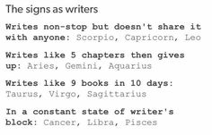 Libra true I love writing bit can never come up with anything