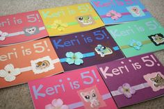 Littlest Pet Shop birthday invitation cards for my daughter's 5th birthday (girls cards) - 06-16-11