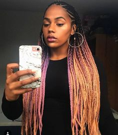 PEACH + PINK CANDY OMBRE braids hair from #CATFACEHAIR 〽️natural hair protective style