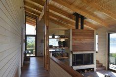 Dos Casas en Lago Ranco,© Carlos Cavagnaro Cabin Interiors, Roof Deck, Flat Roof, House Front, House Floor Plans, Steel Frame, Terrace, Pergola, Outdoor Structures