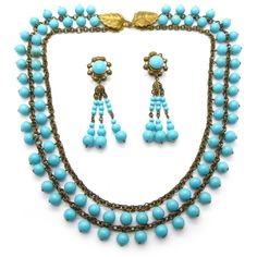 Vintage 1940s Signed French Turquoise Glass Bead Necklace & Earrings Set   Clarice Jewellery   Vintage Costume Jewellery
