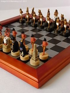 Egyptian Hand Decorated Themed Chess Set - Including Chess Board by Studio Anne Carlton
