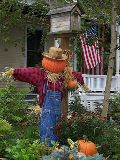 Pumpkin man scarecrow for the garden / fall / autumn outdoor home decorating inspiration