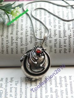 Pretty retro silver Vampire Diaries Elena Vervain locket with red crystal necklace pendant jewelry vintage style $12.99