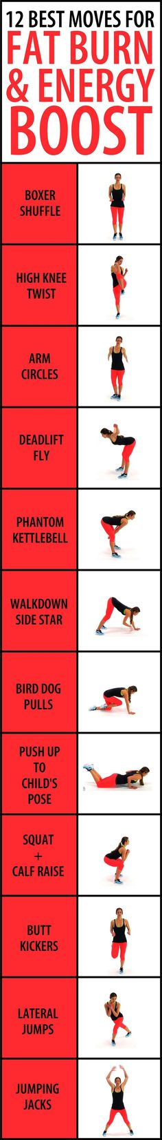 A little physical activity goes a long way, and it can be more effective than a cup of coffee when it comes to providing a wake up call of an energy boost at points of the day when you're feeling sluggish. This whole body low impact cardio workout will clear your head, lower your stress levels, burn off fat, get your blood circulating, and end up with a boost in energy and focus. 12 light bodyweight exercises in 30 second intervals will gradually increase in intensity. No equipment…