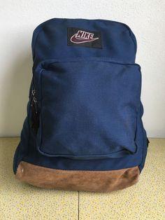 Nike Backpack Leather Bottom 90s Vtg Book Bag Suede Blue Nylon Student  School  Nike   1a7ae99f11