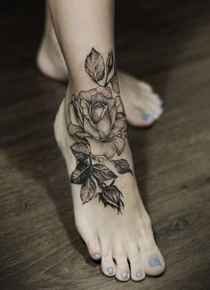 Rose foot tattoo.  If you like it, like and repin this post! Follow Great Tattoos for more sweet pins!  #tattoo #greattattoos #greattattoo #cooltattoo #tat #ink #cooltat #interestingtattoo #sicktattoo #foot #foottattoo #foottat #flower #flowertattoo #rose #rosetattoo #ankletattoo