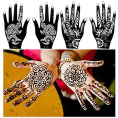 Cheap paint easels, Buy Quality paint standard directly from China stencil ink Suppliers: 1 Pair Black Henna Mehndi Flower Waterproof Tattoo Sexy Women Girl Body Hands Art Temporary Tattoo Paint Design Sticker Stencils Mehndi Flower, Henna Mehndi, Hand Kunst, Black Henna, Hand Art, Girl Body, Paint Designs, Temporary Tattoos, Hennas