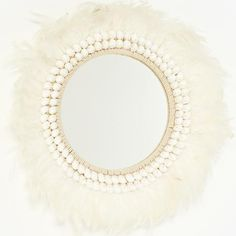 Tribal Feather Mirror with what looks like pompon trim around the mirror. Tribal Feather, Tribal Necklace, Home Accessories, Lounge, Mirror, Beautiful, Headpieces, Wall Hangings, Crowns