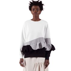 No Candy Sweatshirt features a crew neck, raglan sleeves with elastic cuffs, a ruffle detail on the left sleeve, a ruffle peplum detail and ribbed hem. Peplum, Ruffle Blouse, Crew Neck, Style Inspiration, Sweatshirts, Sleeves, Outfits, Clothes, Tops