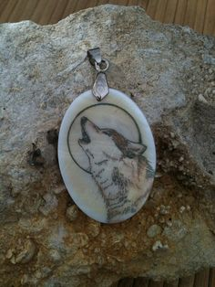 Wolf Totem Animal Mother of Pearl Amulet by by MickieMuellerStudio