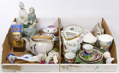 Lot 733: Porcelain and Ceramic Object Assortment; Twenty-nine items including cups, saucers and figurines