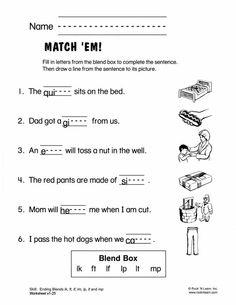 Ending Consonant Blends   Consonant blends, Worksheets and Phonics