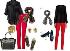 red and leopard with black chiffon top