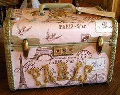 decoupage train case | Beautiful Vintage Paris Pink Train Case Luggage Embellished with ...