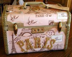 decoupage train case | Beautiful Vintage Paris Pink Train Case Luggage Embellished with ...