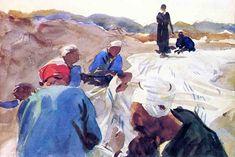 The Athenaeum - Mending a Sail (John Singer Sargent - ) 1905
