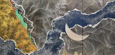 Star Festival, approx. 1968. Kayama Matazo. Six-panel screen; ink,color,gold, and silver on silk. Saint Louis Art Museum