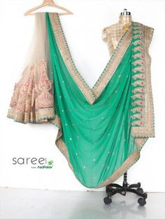 Green and Off White Georgette Saree with Cutdana and Stone Work