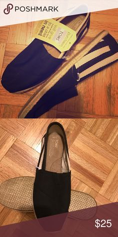 Brand new Toms! Black Stripe University TOMS. TOMS Shoes Flats & Loafers