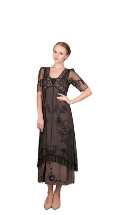 The newest Titanic dress that stands above all others. A new addition to the Nataya line of dresses well deserving of the Titanic name. Still boasting a beautiful Victorian style with an empire waist and 1/2 length sheer sleeves. The beautiful 1920s and 1930 soutache embroidery is bountiful, and you will find victorian lace throughout throughout the multiple layers of the dress. All the beauty sits above a cotton slip and a satin bottom. It is a dress meant for the bride to be and could also ser
