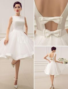 Vintage 1950's Short Wedding Dresses Knee Length Bateau Neckline Backless Little White Dress Summer Style Beach Wedding Gowns Dress with Bow