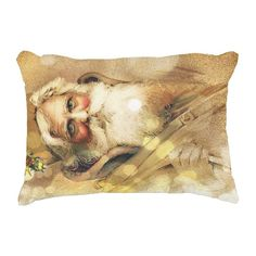 Golden Bokeh vintage Santa Claus Accent Pillow