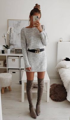 chic outfit idea_sweater dress belt over knee boots
