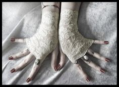Rohan Lace Fingerless Gloves  Soft Ivory Cream by ZenAndCoffee, $22.00