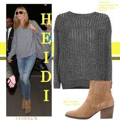 Heidi Klum trägt einen legeren Alltagslook mit einem coolen oversized Pullover…