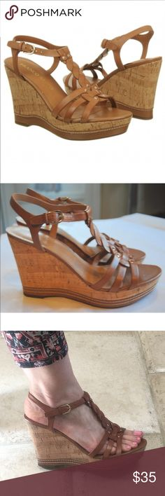 "Franco Sarto tan wedge Suzy sandals leather cork Franco Sarto tan light brown wedge Suzy sandals size 9  ankle strap adjustable wedges tan genuine leather with studs accents                                   tan leather lining heel cork height 4"" (actual heel 3"", 1"" platform) pre owned - worn 4 times   20% on bundles of 4 💋 no trades Franco Sarto Shoes Wedges"