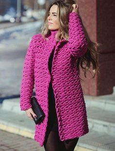 #вязание #пальто #крючок #пряжа<br>Автор модели Полина Крайнова. http://polinakraynova.ru/