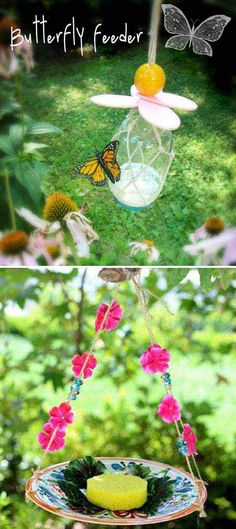 Fill a mason jar with sugar water to finish a whimsical butterfly feeder. Before that, you need to have a bit of knot-tying know-how. - Fun Kids Gardening Projects To Do This Spring