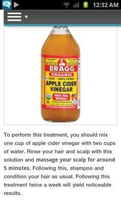 Apple cider vinegar.  this stuff is amazing, I've used it before for many things, but never thought of putting it in my hair.